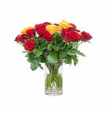 picture of flower arrangement  - An image of a nice bouquet yellow and red roses - JPG