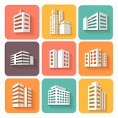 stock photo of building exterior  - Set of dimensional buildings  colored icons in white with shadow depicting high - JPG