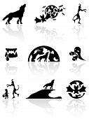 stock photo of jaw drop  - Set of black Halloween icons on white background - JPG