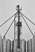 pic of auger  - Small industrial upright grain auger with spouts leading to bin tops - JPG