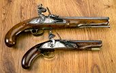 picture of pistols  - A Pair of English 18th century flintlock pistols - JPG