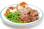 foto of diners  - open faced diner style hot beef sandwich with mashed potatoes gravy and fresh vegetables - JPG