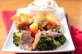 image of chinese food  - tasty chinese food with fried rice beef chicken and fresh vegetables - JPG