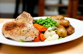 stock photo of roast chicken  - farm fresh vegetables with roasted chicken and fingerling potatoes - JPG