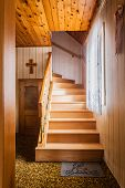 stock photo of chalet interior  - wooden interior staircase of a chalet or cottage in austria - JPG