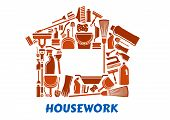 stock photo of cleaning house  - Cleaning tools and supplies in house shape including mop - JPG