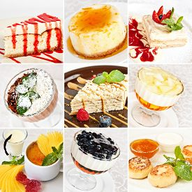 foto of grating  - Various desserts collage including cheesecakes napoleon cakes tiramisu with grated chocolate jelly desserts cottage cheese pancakes and creme brulee - JPG