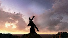 picture of calvary  - The figure of Christ carrying the cross up Calvary on Good Friday - JPG