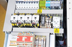 foto of electricity meter  - New control panel with electrical equipment - JPG