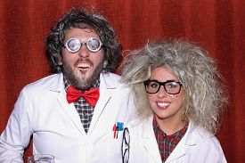 picture of mad scientist  - A young couple dressed as mad professors  - JPG
