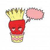 image of spooky  - spooky skull cupcake cartoon with speech bubble - JPG
