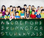 picture of alphabet  - English Alphabet Letters Number Education Concept - JPG