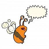 stock photo of bee cartoon  - cartoon funny bee with speech bubble - JPG