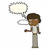 stock photo of smoker  - cartoon smoker with speech bubble - JPG