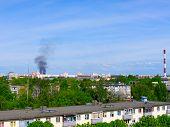 foto of chimney  - Factory chimneys and smoke - JPG