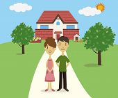 foto of youg  - A youg couple standing in front of their house - JPG