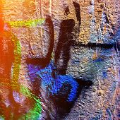 stock photo of fragmentation  - fragments of pictures of graffiti in the urban environment - JPG