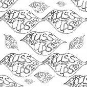 picture of hand kiss  - Vector hand drawn seamless pattern with lips and kiss my lips text - JPG