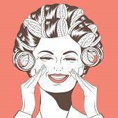 image of hair curlers  - Woman with curlers in their hair vector format - JPG