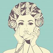 pic of hair curlers  - Woman with curlers in their hair talking at phone vector format - JPG