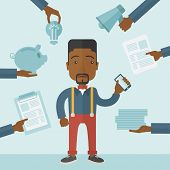 image of tasks  - Black Man with smartphone in hand has a lot of of task and paperwork suitable for time management business concept - JPG