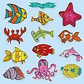 stock photo of octopus  - Sea life animals stickers set - JPG