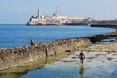 picture of malecon  - View of old fort from the malecon - JPG