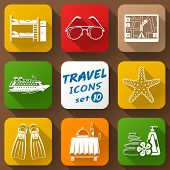 pic of bunk-bed  - Collection of color icons for tourism and vacation - JPG
