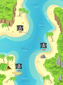 picture of pirate flag  - Illustration of a cartoon pirate island and treasure marks a Jolly Rodger flag - JPG
