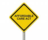 stock photo of mandate  - Affordable Care Act Warning Sign Yellow warning road sign with word Affordable Care Act isolated on white - JPG