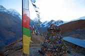 image of buddhist  - Himalaya Mountains with Buddhist prayer flags - JPG