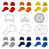 stock photo of bottom  - Baseball, tennis cap vector illustration featured front, back, side, top, bottom isolated on white. 