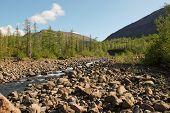 stock photo of plateau  - The Putorana plateau the river Bucharama - JPG