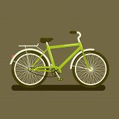 foto of dark side  - Vector illustration of a green bicycle a side view on dark background - JPG