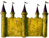 stock photo of fortified wall  - a large building or group of buildings fortified against attack with thick walls - JPG