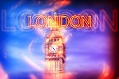 stock photo of big-ben  - Blurred Red Neon London Sign Overlay on Big Ben Clock Tower on Sky in Shades of Blue and Purple - JPG