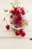 picture of cherries  - Fresh organic sour cherry - JPG