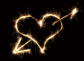 pic of hot couple  - heart and arrow sparkler path on black background - JPG