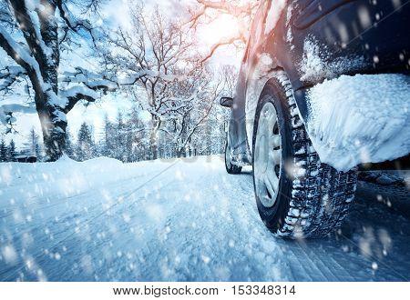 Car tires on