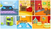 Постер, плакат: Hand drawn vector cartoon set of apartment and restaurant interiors Colourful cartoons of home and