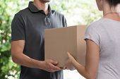 Woman and courier during order transfer. Woman accepting delivery from deliveryman. Cropped image of poster