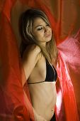 Yong woman in bra