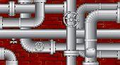 Industriële achtergrond. Vector buizen over bakstenen muur (geen verlopen geen mazen)