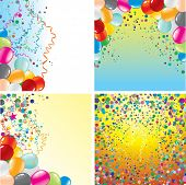 Colorful vector backgrounds set with balloons and confetti