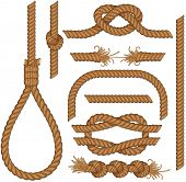 stock photo of gallows  - Set of seamless Rope elements  - JPG