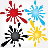 Useful various splashes of blood, oil, water, dye. vector -only gradients