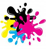 Inkblots de CMYK Cartoon Vector