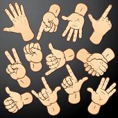 Accuracy vector hands-various gestures collection for your design: handshake, fist, forefinger, warn