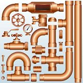 Collection of detailed Brass Pipeline construction pieces:Vector pipes, fittings, valves, faucet, el
