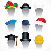Hats and Caps clip art - collection of detailed vector illustrations of various headdress - inc santa hat, mortar board, jester hat, hardhat, chef hat etc
